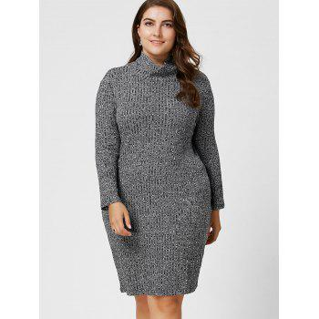 Plus Size Ribbed Sheath Turtleneck Sweater Dress - GRAY 6XL
