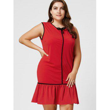 Robe taille taille volant à manches longues taille Bowknot - Rouge 6XL