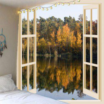 Waterproof Faux Window Lake Printed Wall Tapestry - COLORFUL COLORFUL