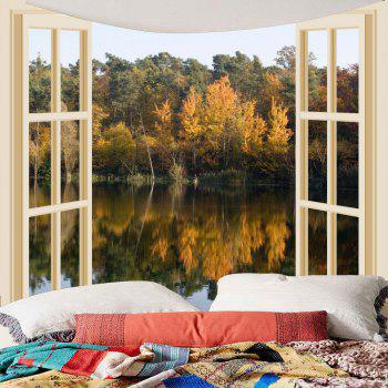 Waterproof Faux Window Lake Printed Wall Tapestry - COLORFUL W79 INCH * L79 INCH
