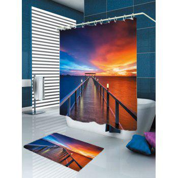 Dusk Bridge Printed Waterproof Shower Curtain and Mat - COLORFUL W79 INCH * L71 INCH