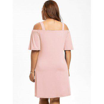 Robe Manches 1/2 Épaules Nues Grande Taille - Rose Léger XL