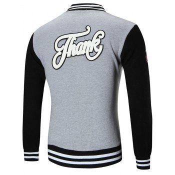 Applique Patched Baseball Jacket - GRAY 3XL