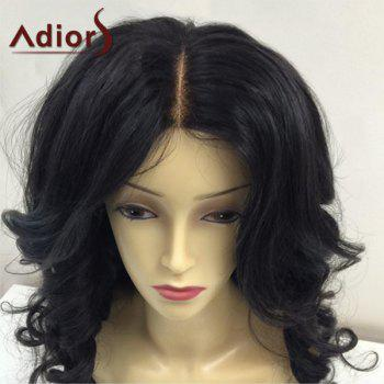 Adiors Fluffy Long Center Parting Body Wave Synthetic Wig - BLACK
