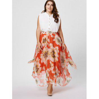 Plus Size Chiffon Floral Maxi Skirt - BURNT ORANGE 2XL