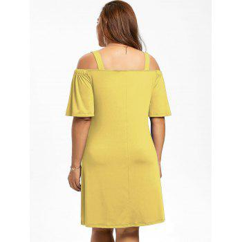 Robe Manches 1/2 Épaules Nues Grande Taille - Jaune XL