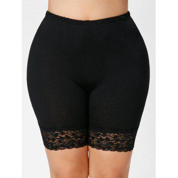 Plus Size Lace Insert Short Leggings - BLACK 3XL