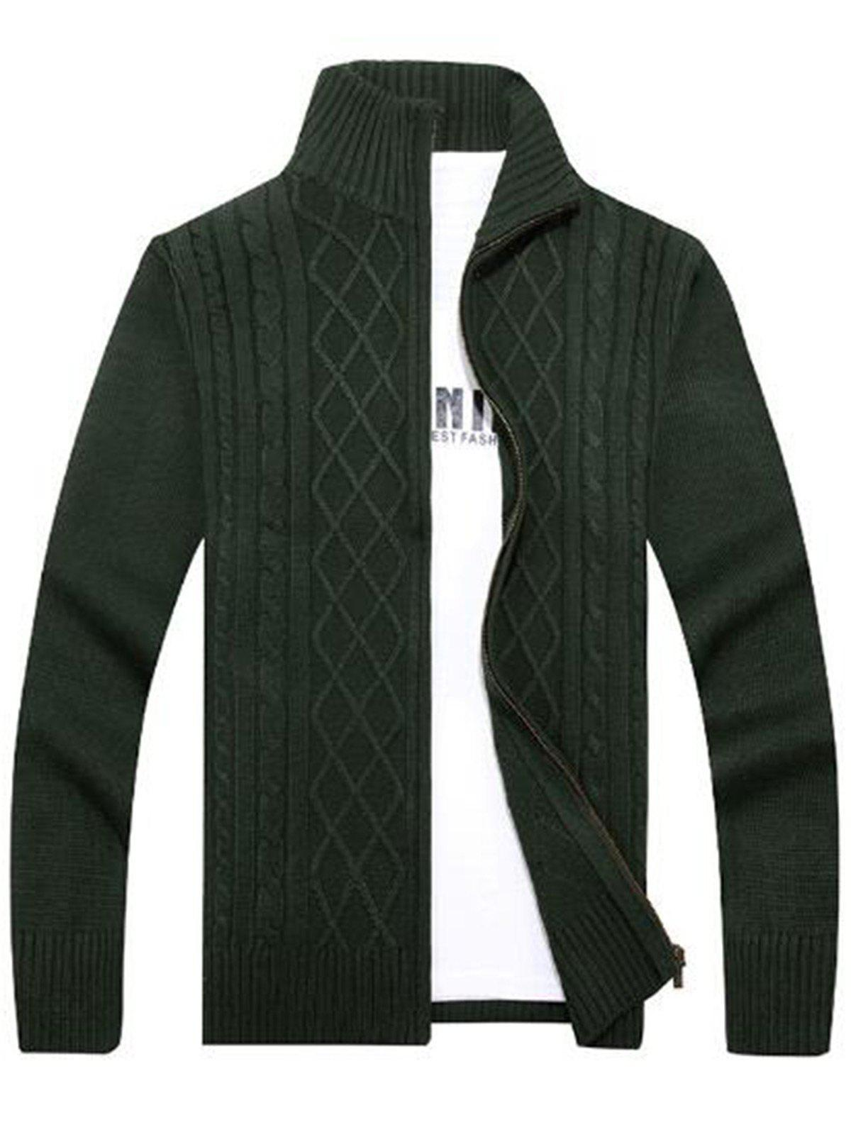 Cable Knit High Neck Sweater Cardigan - GREEN 2XL