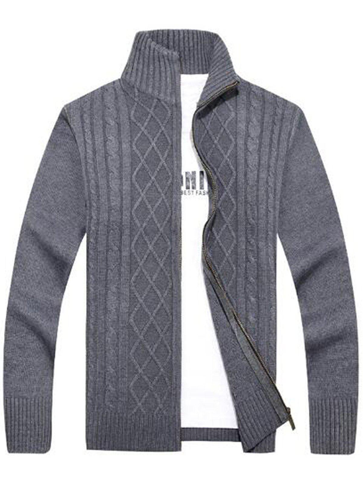 Cable Knit High Neck Sweater Cardigan cable knit high neck sweater cardigan