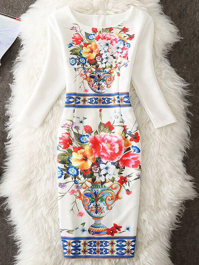 Sheath Floral Printed Knee Length Dress - WHITE M