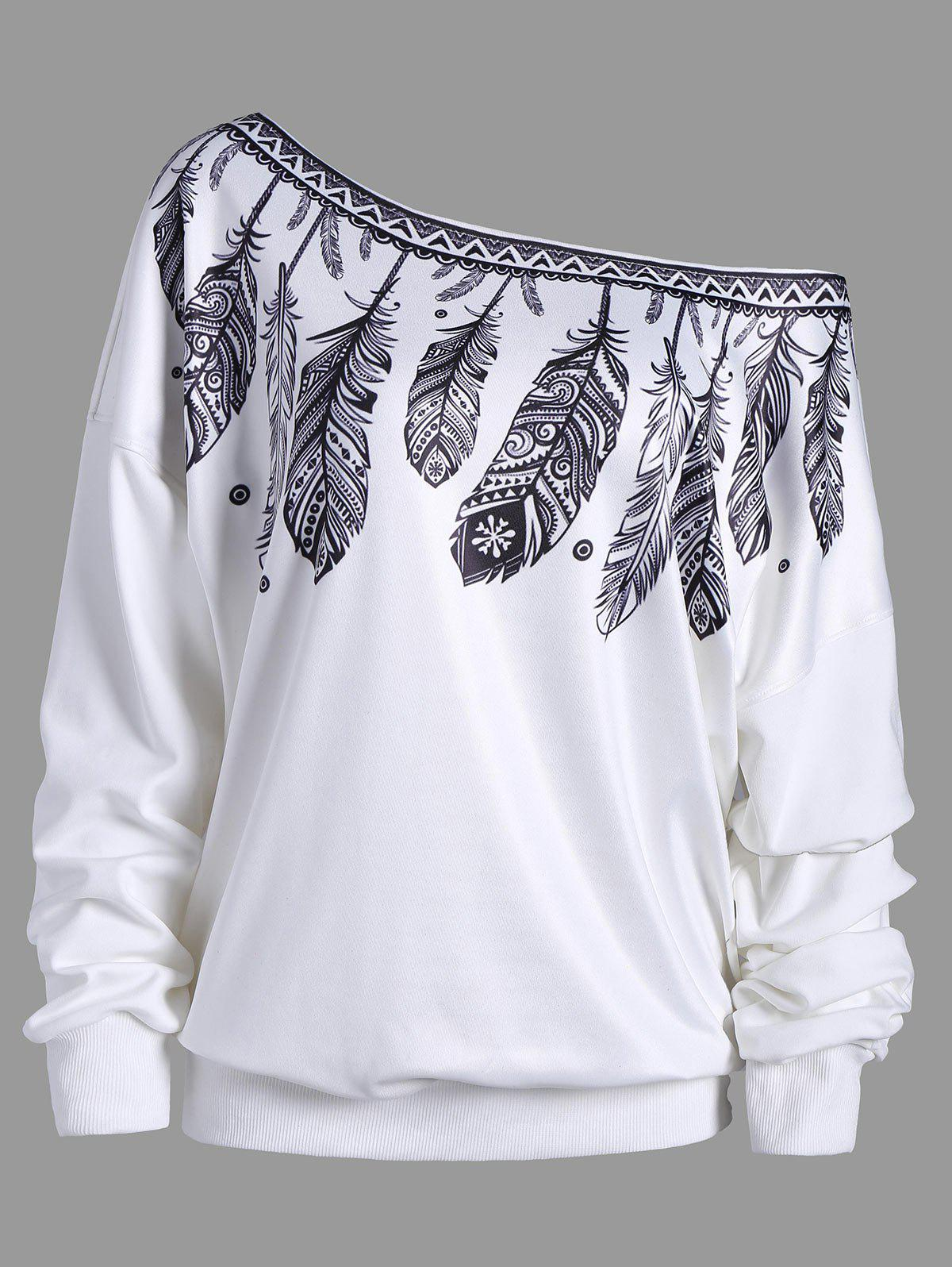 Feather Print Drop Shoulder Skew Neck Sweatshirt eyes print drop shoulder marled sweatshirt
