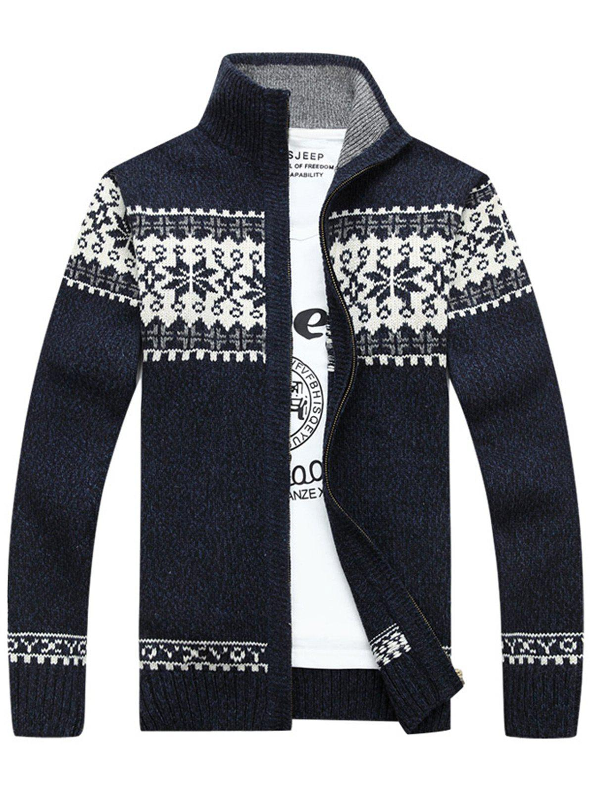 Zip-Jaquard Sweater Cardigan - Bleu Cadette 3XL