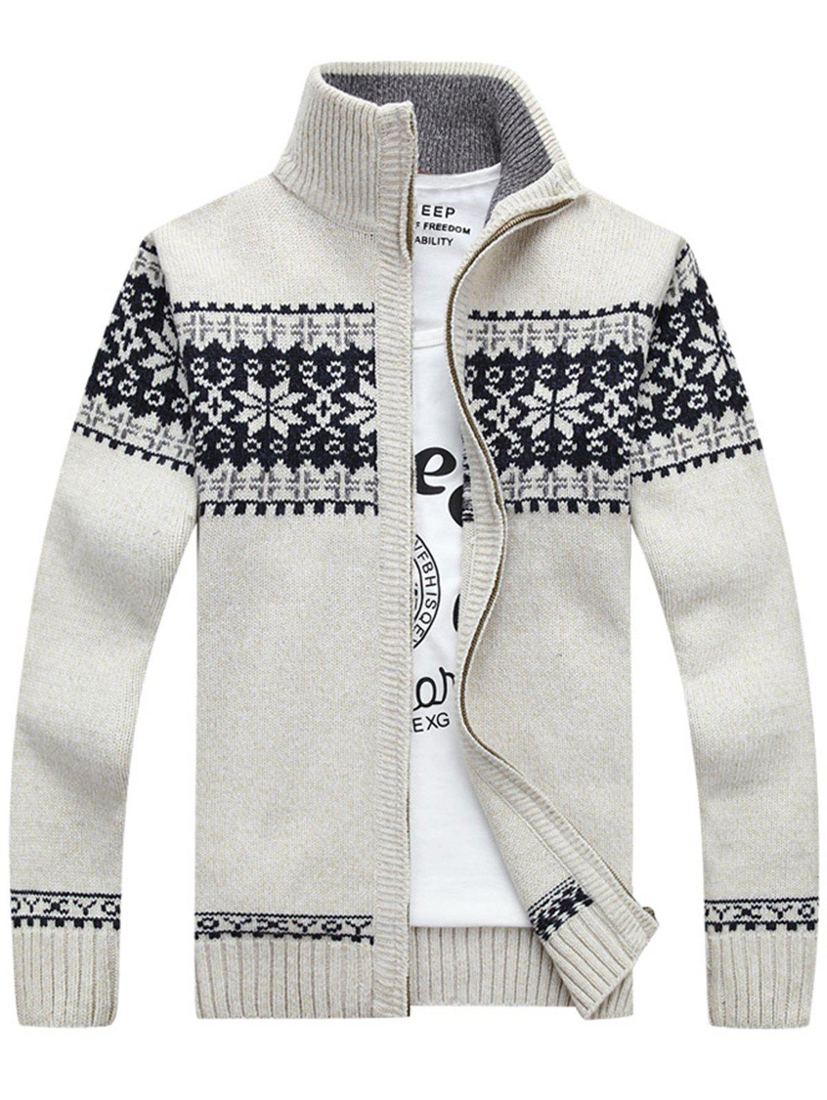 Zip-Jaquard Sweater Cardigan - Blanc 3XL