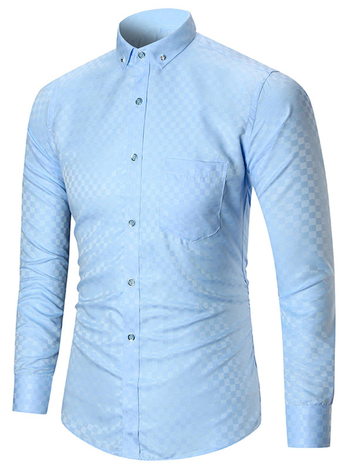 Button-down Pocket Long Sleeve Shirt - LIGHT BLUE 4XL