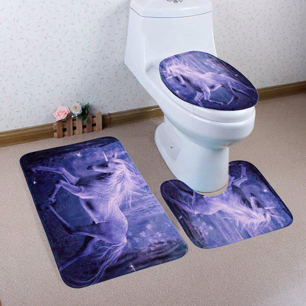 Non Slip 3Pcs Fairyland Unicorn Bathroom Mats Set - PURPLE