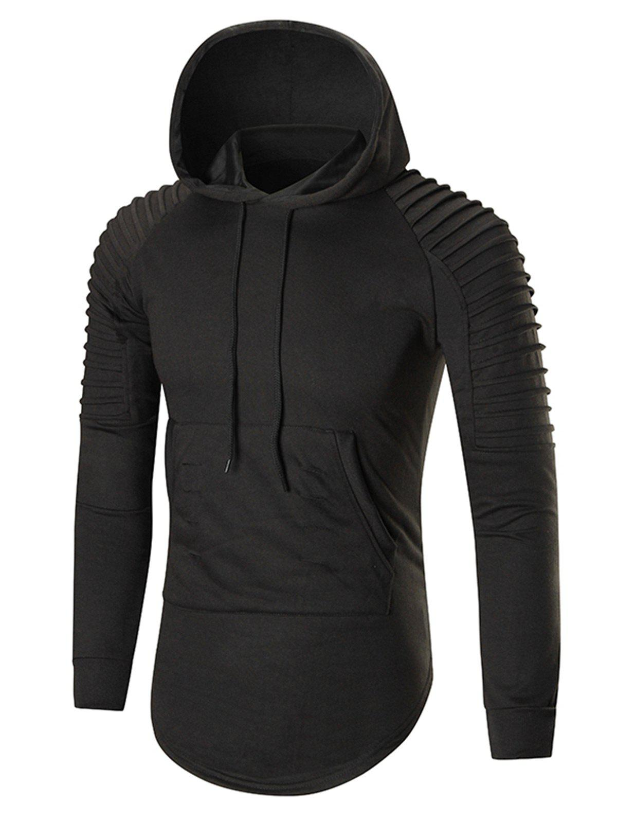 Pleated Shoulder Distressed Longline Hoodie - BLACK 2XL