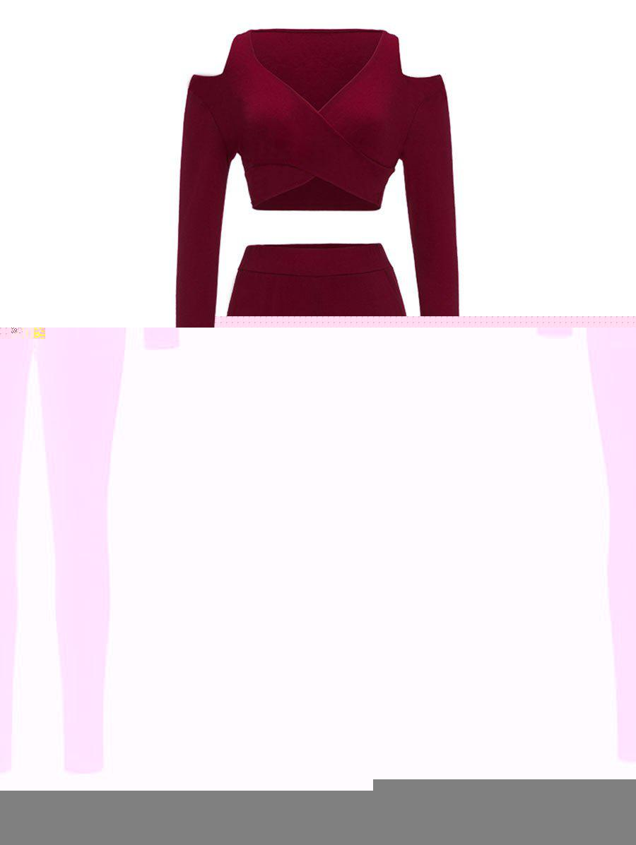 Cold Shoulder Crop Top and Skinny Pants - WINE RED S