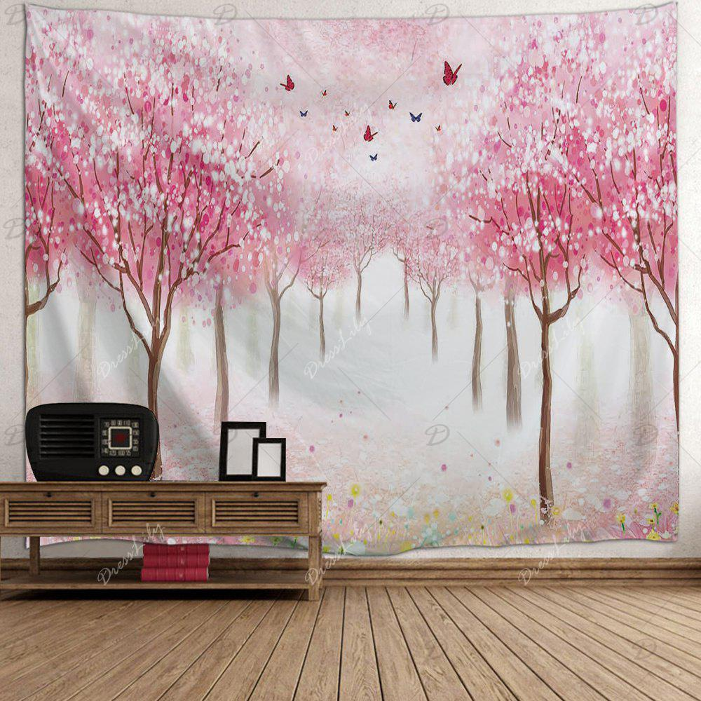 Floral Trees Forest Print Tapestry Wall Hanging Art - ROSE PÂLE W71 INCH * L91 INCH