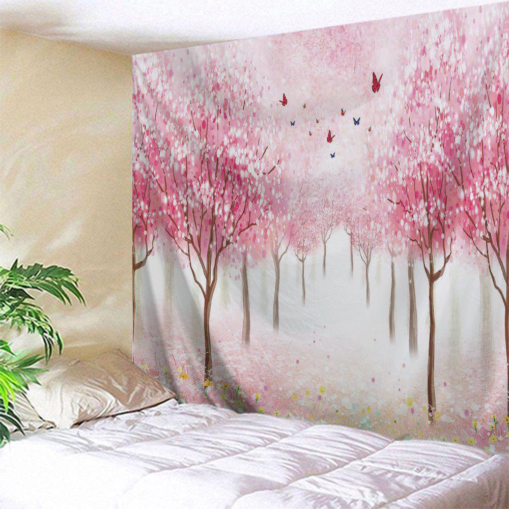 Floral Trees Forest Print Tapestry Wall Hanging Art forest floral deer print tapestry wall hanging art