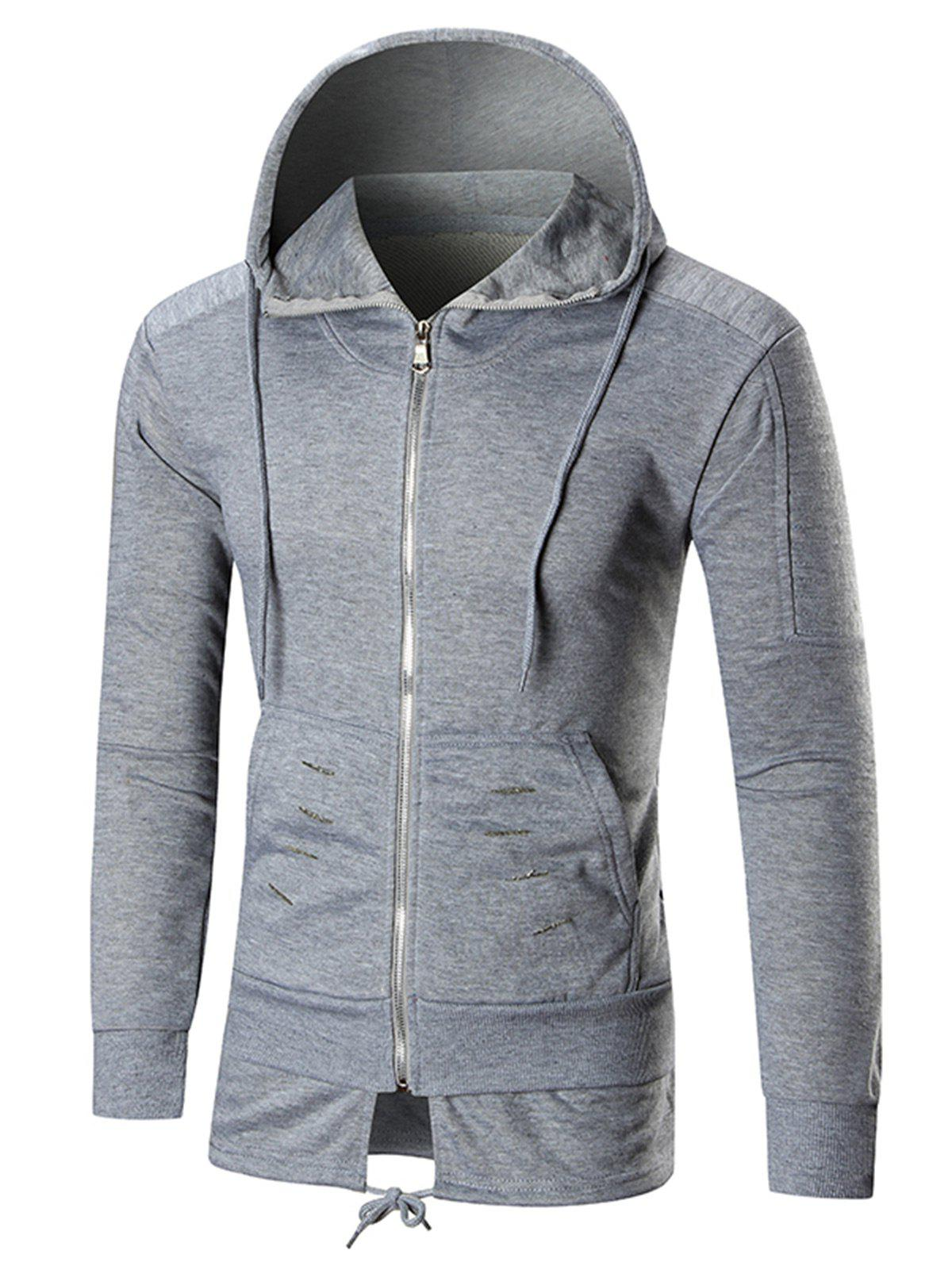 Drawstring Hem Zip Front Distressed Hoodie - GRAY 2XL