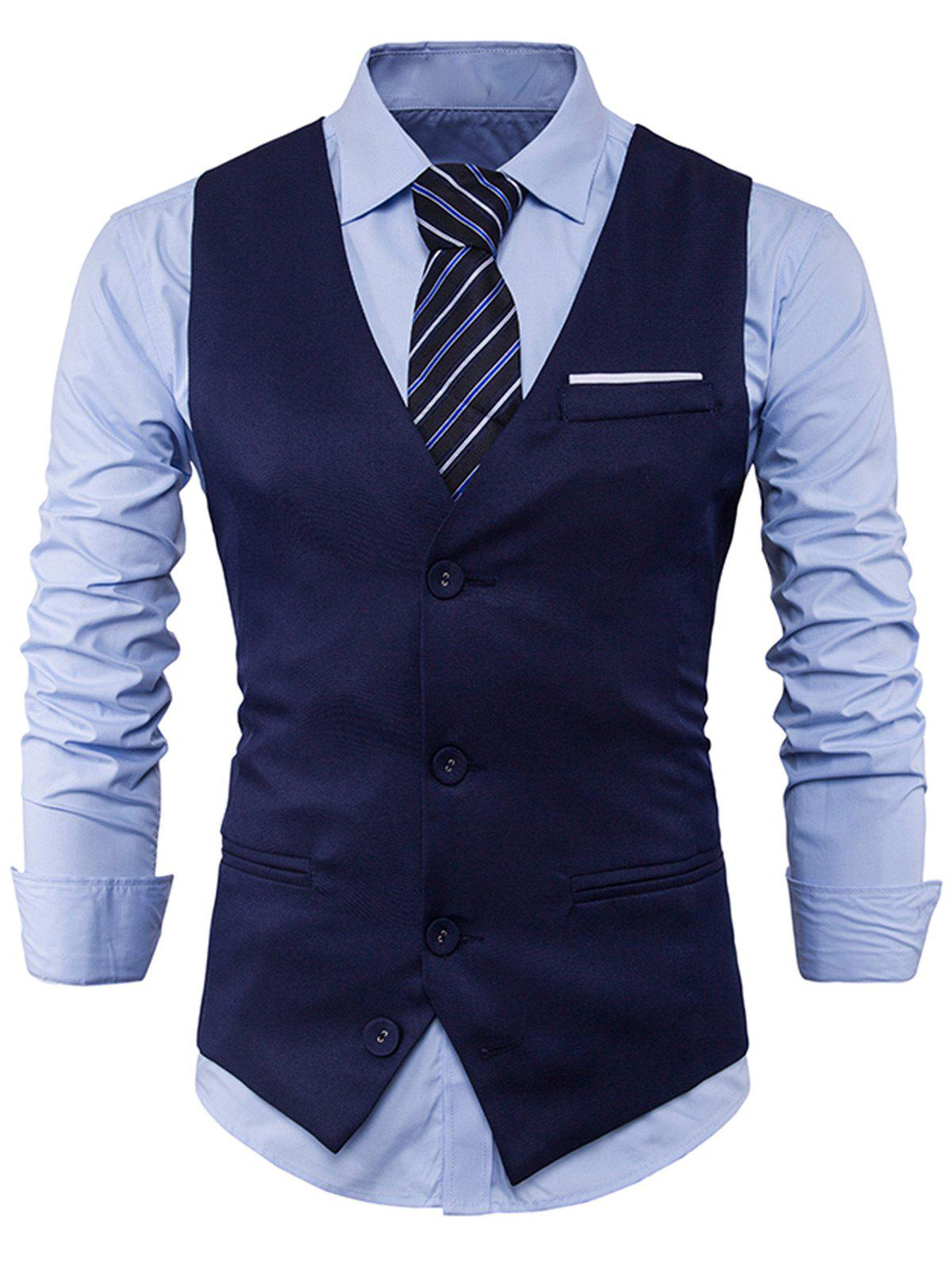 Color Block Edging Single Breasted Waistcoat - CADETBLUE L