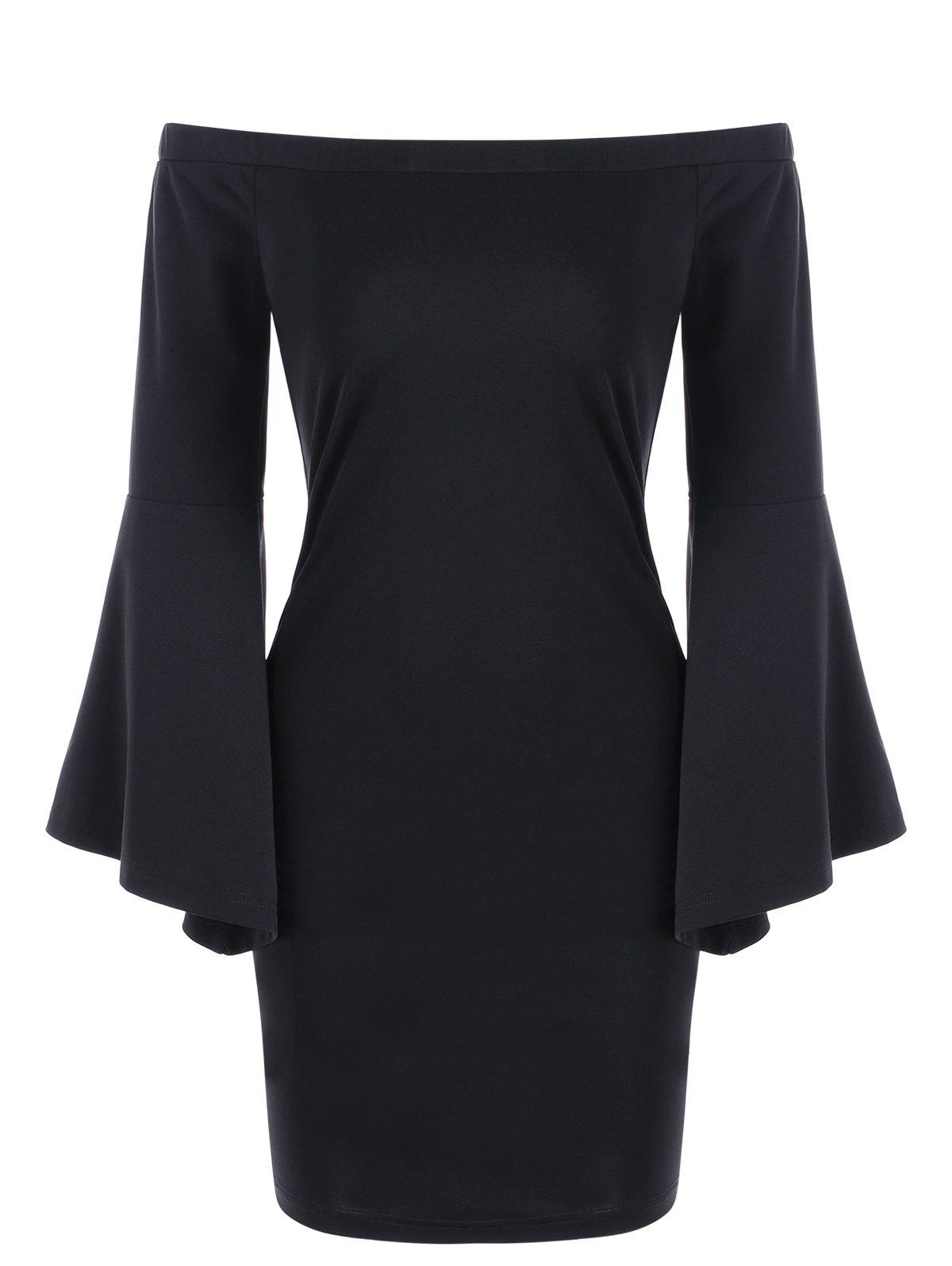 Off The Shoulder Flare Sleeve Sheath Dress - BLACK L