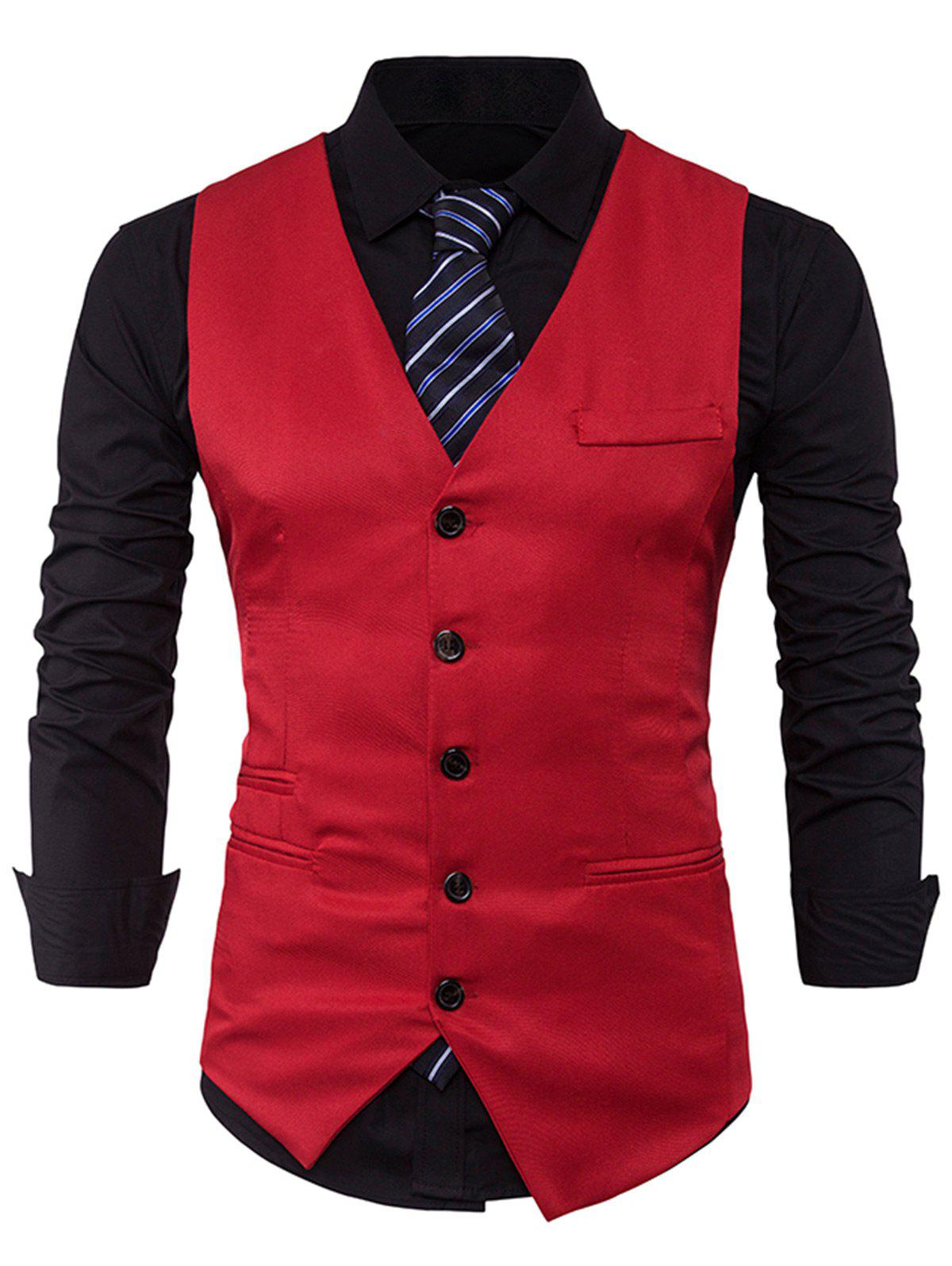 V Neck Edging Single Breasted Waistcoat - RED L