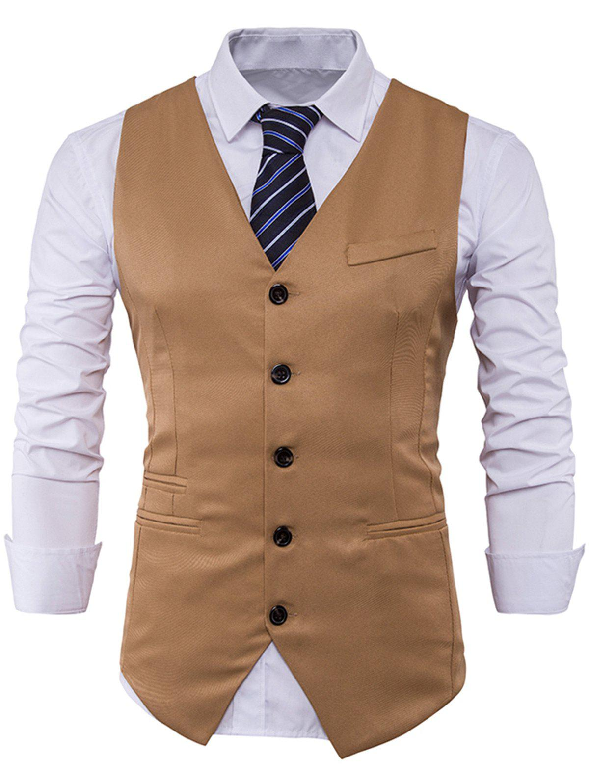 V Neck Edging Single Breasted Waistcoat - KHAKI L