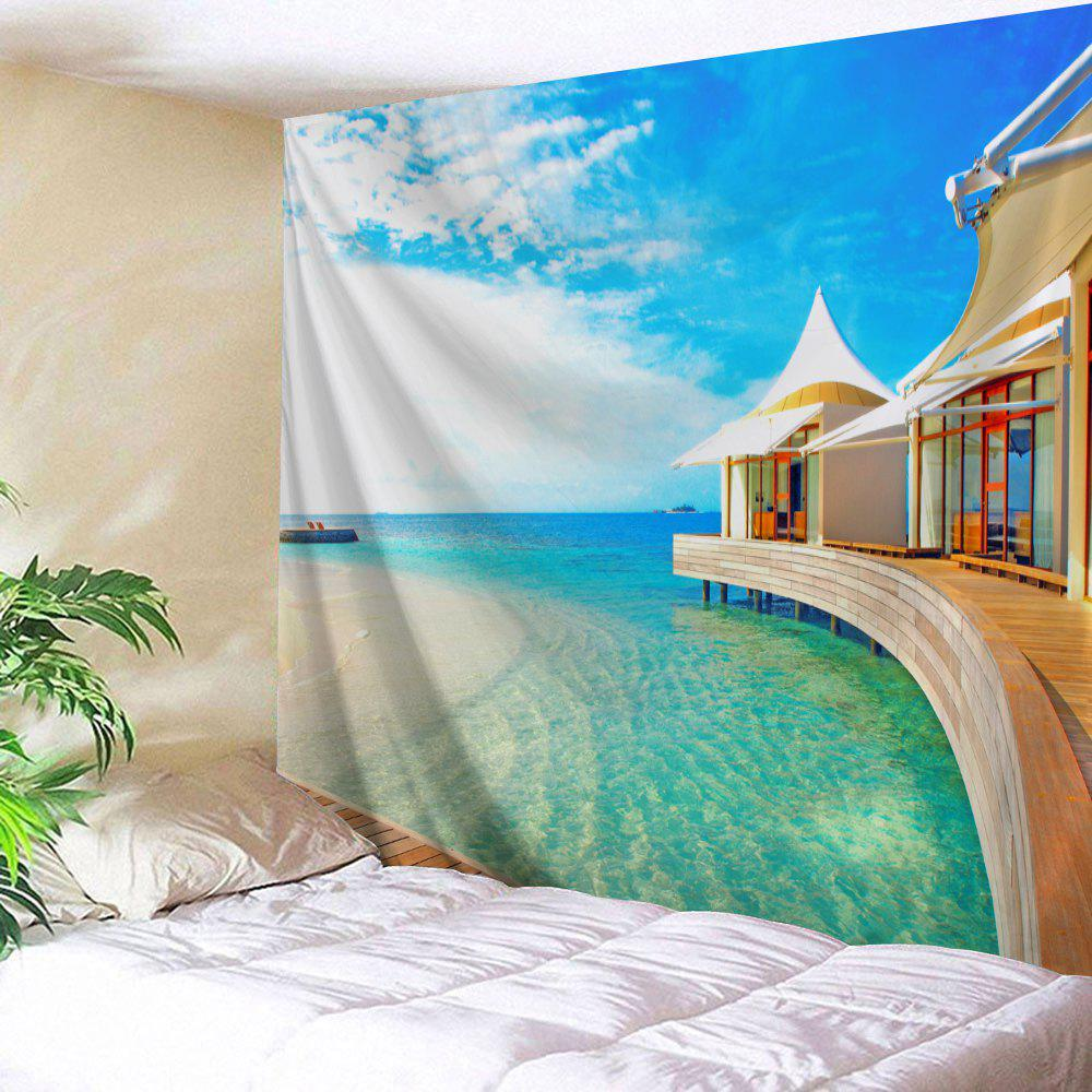 Beach House Print Tapestry Wall Hanging Art - COLORMIX W71 INCH * L91 INCH