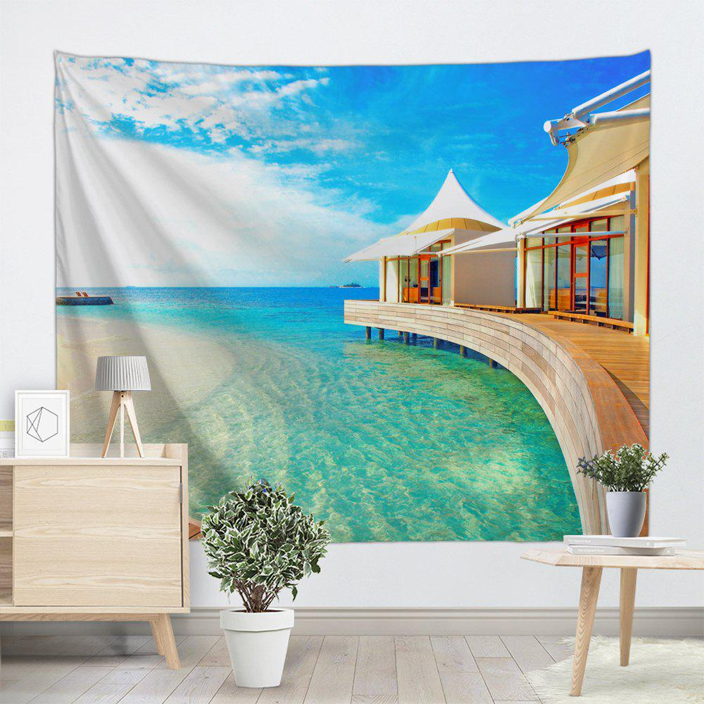 Maison de plage Print Tapestry Wall Hanging Art - multicolorcolore W71 INCH * L91 INCH