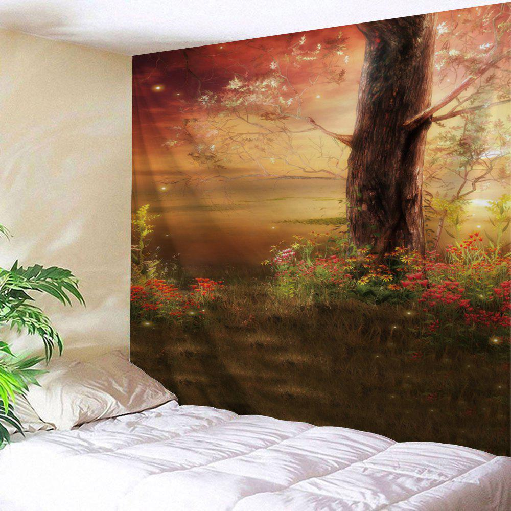 Tree Floral Tree Print Tapestry Wall Hanging Art - multicolorcolore W71 INCH * L91 INCH
