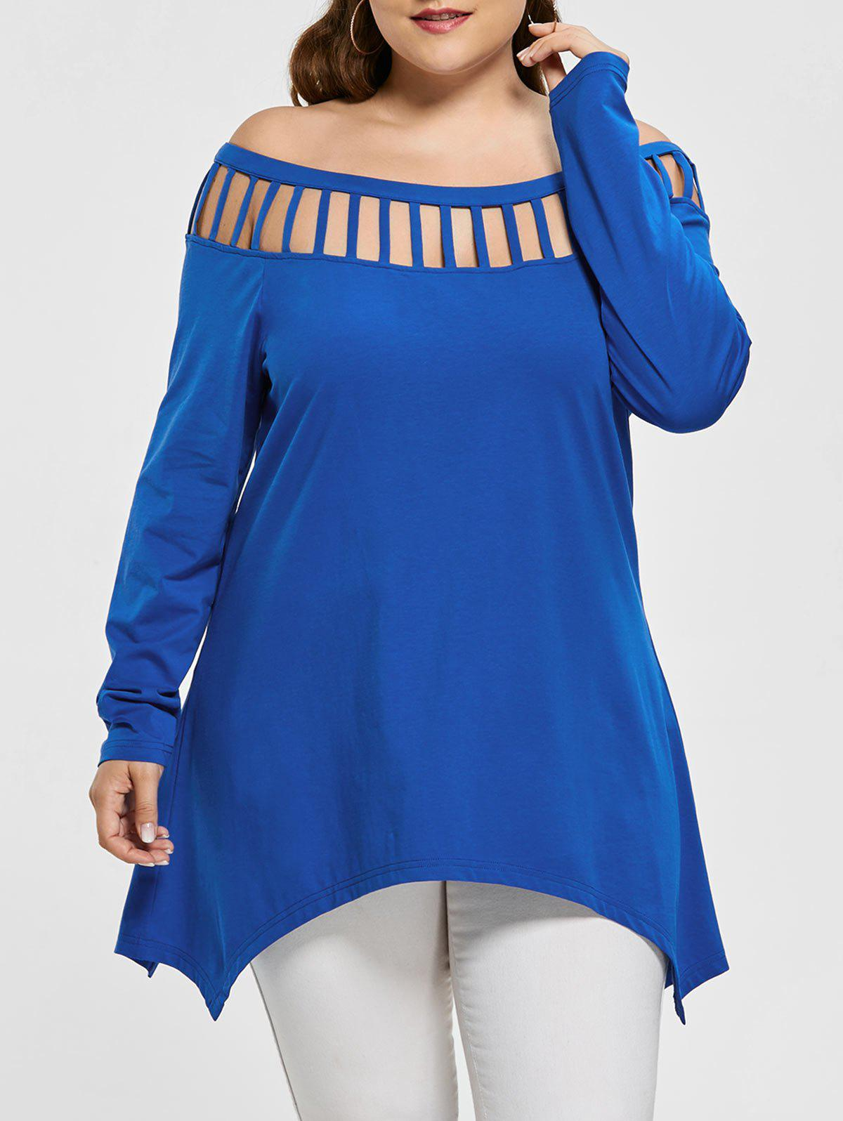 Cut Out Plus Size Long Sleeve T Shirt - BLUE 5XL