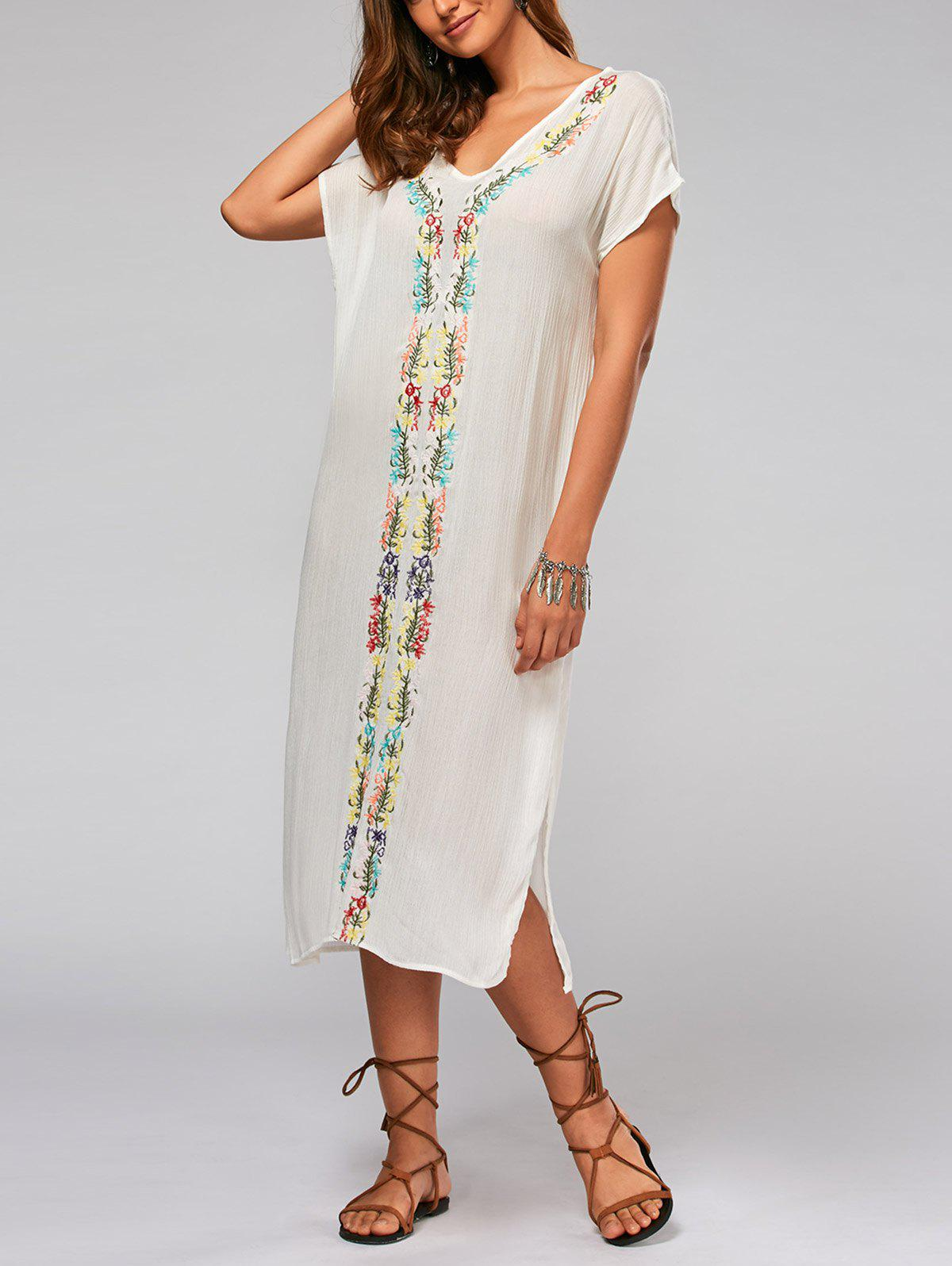 Batwing Sleeve Leaf Embroideried Split Straight Dress - Blanc XL