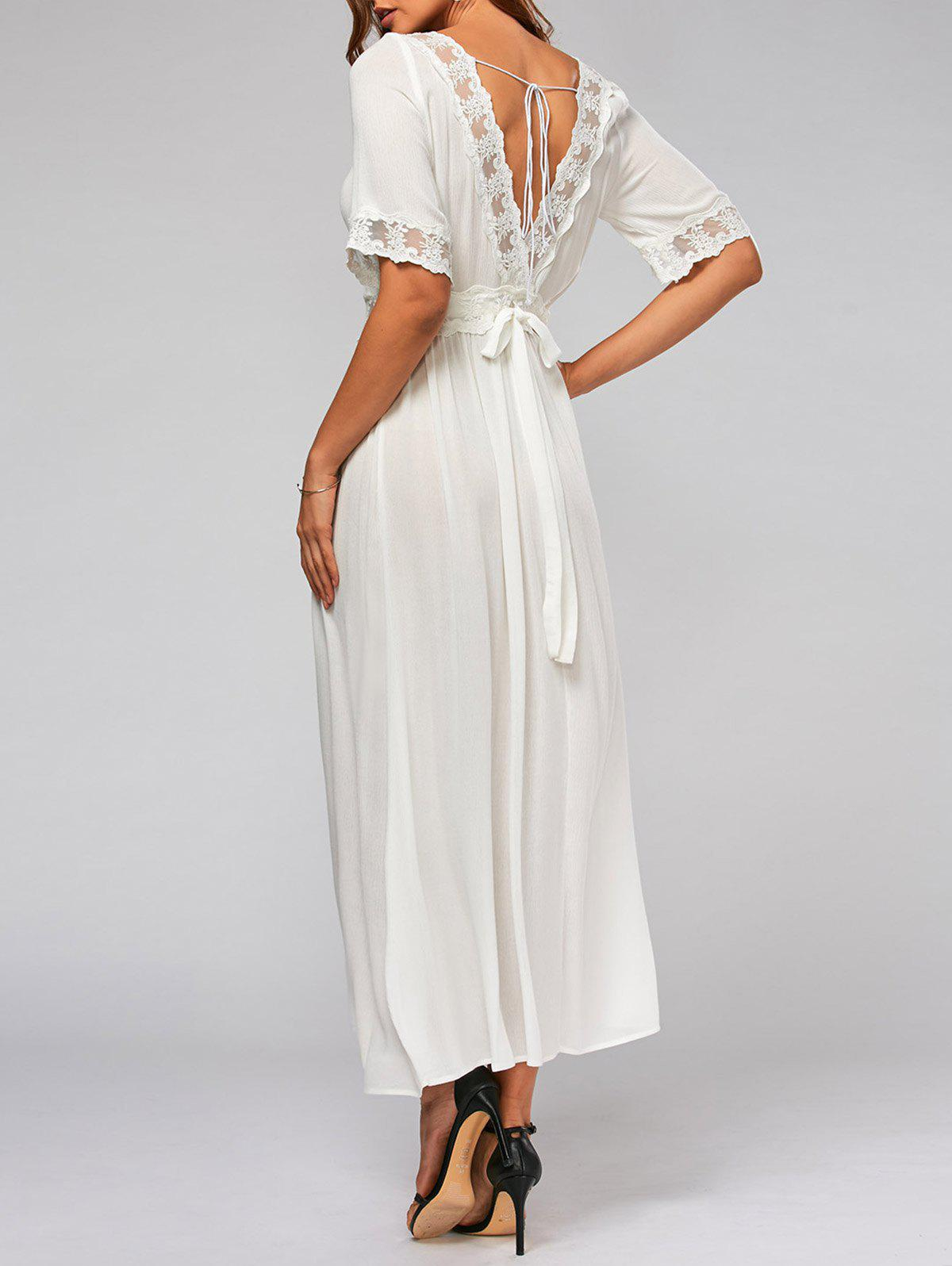Bowknot Tail Lace Trim Flare Maxi Dress - Blanc 2XL