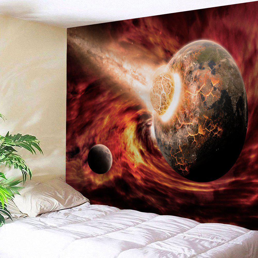 Comet Collide The Earth Print Tapestry Wall Hanging Art - Brun rouge W71 INCH * L91 INCH