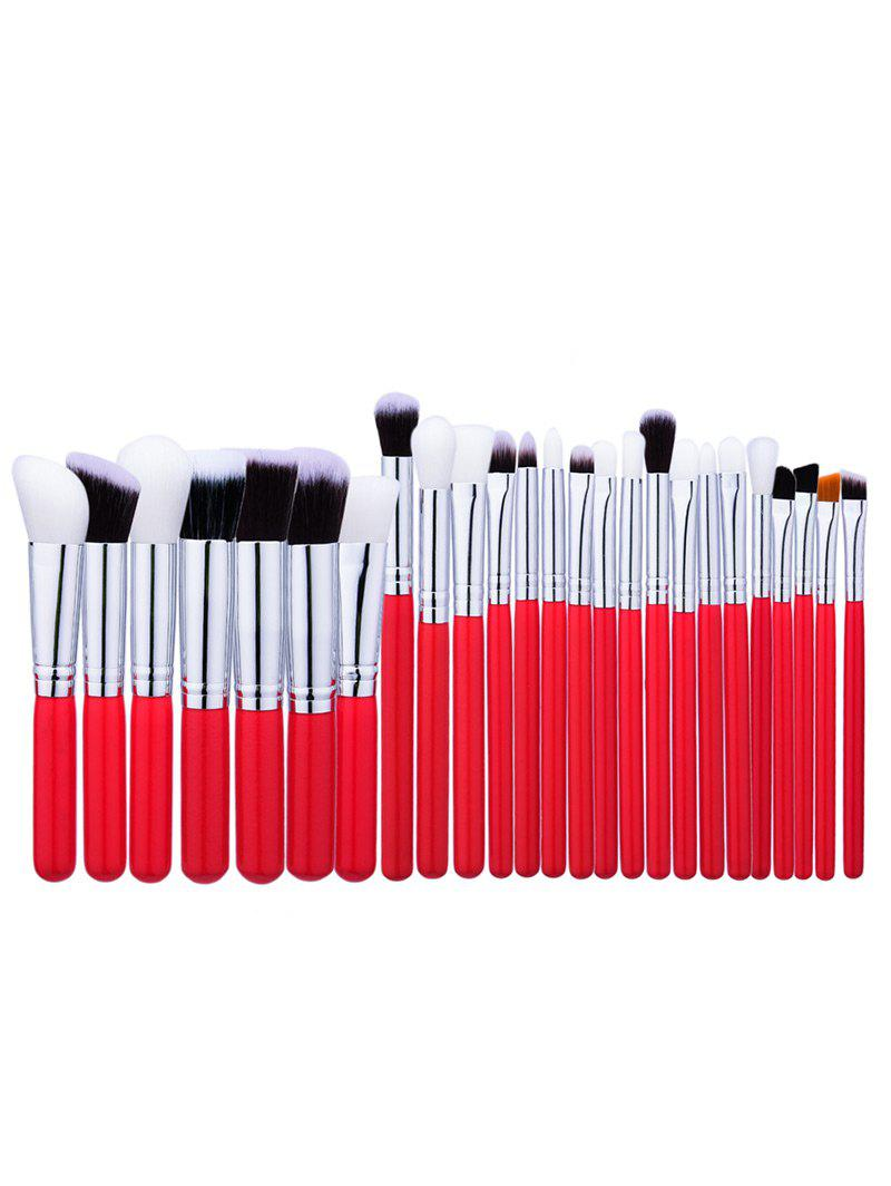 Round Handle Face Eye Makeup Brushes Set - RED
