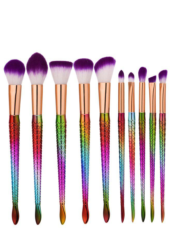 Glitter Multipurpose Mermaid Makeup Brushes Set - PURPLE