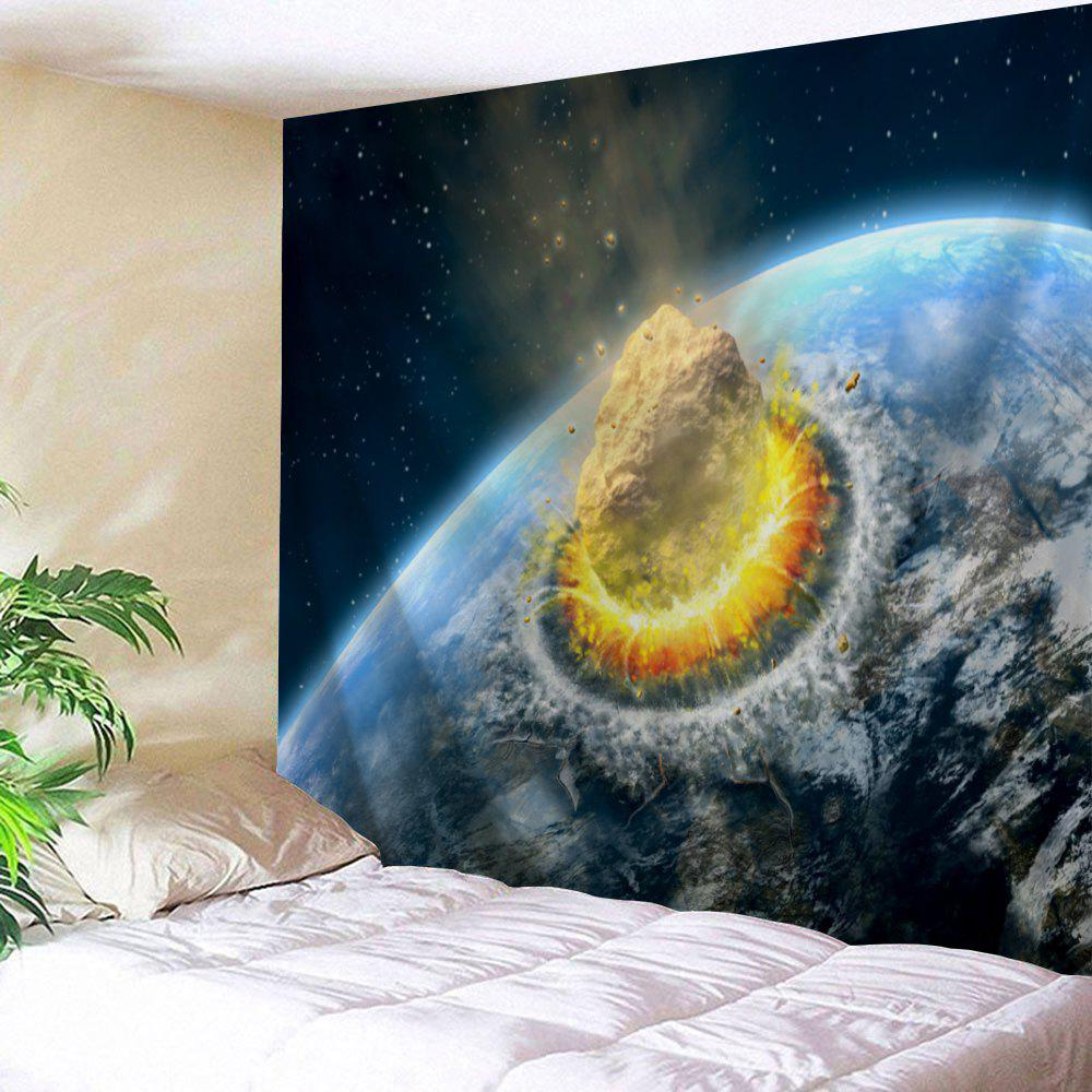 Meteorite Collide The Earth Print Tapestry Wall Hanging Art - Bleu W71 INCH * L91 INCH