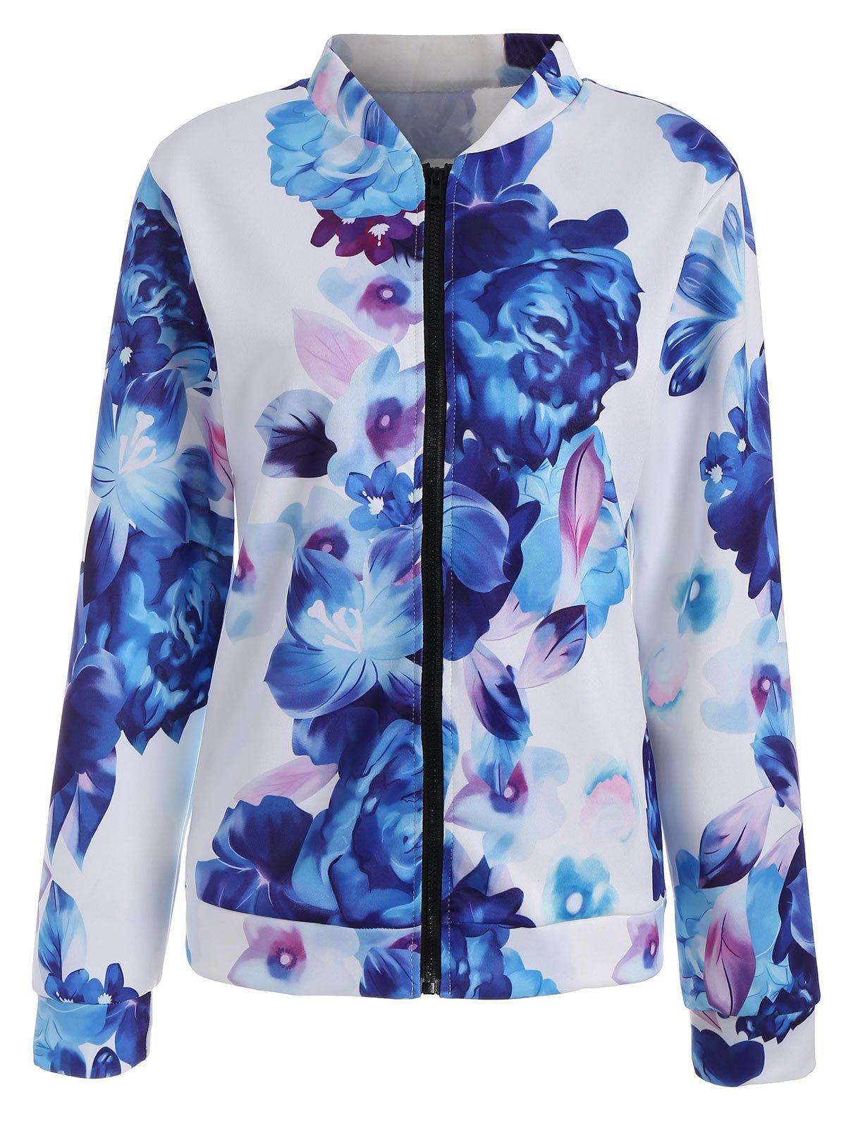 Long Sleeve Floral Zip Up Jacket - BLUE S