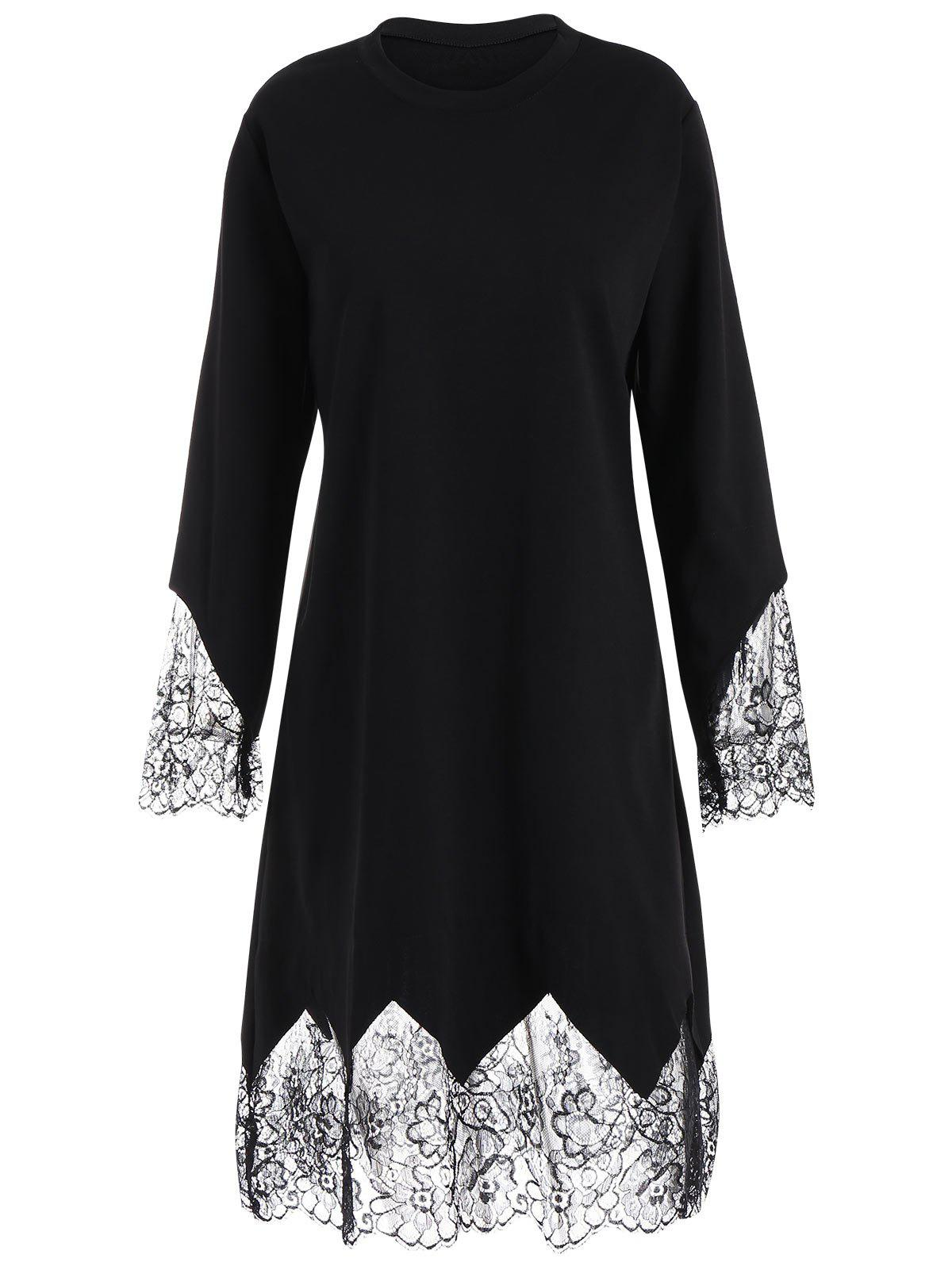 Plus Size Eyelash Lace Trim Dress with Sleeves - BLACK 5XL