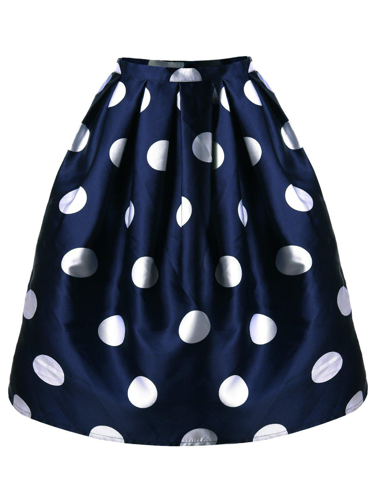 Polka Dot Mini A Line Skirt - CADETBLUE L