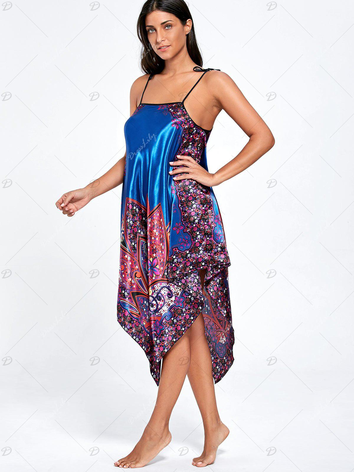 Asymmetric Floral Pajama Slip Dress - ROYAL ONE SIZE
