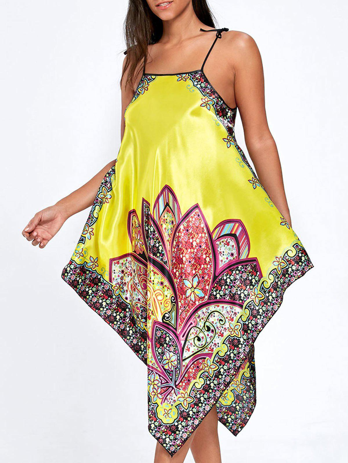 Asymmetric Floral Pajama Slip Dress - YELLOW ONE SIZE