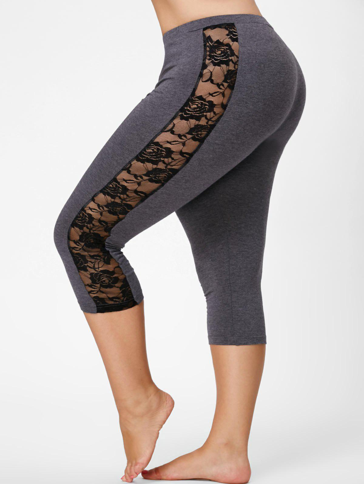 Lace Mesh Panel Plus Size Capri Leggings - GRAY XL