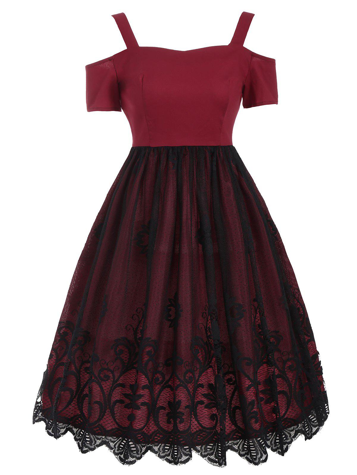 Vintage Lace Trim Fit and Flare Dress - RED S