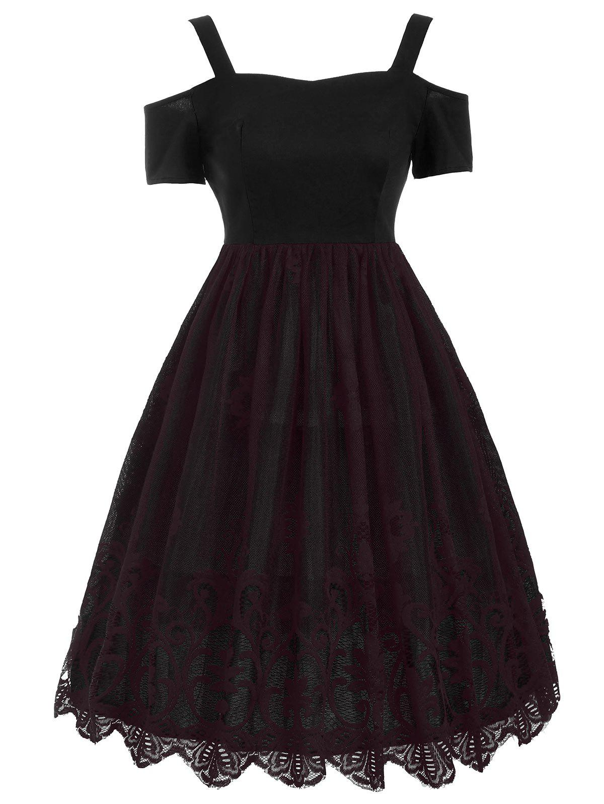 Vintage Lace Trim Fit and Flare Dress - DARK RED S