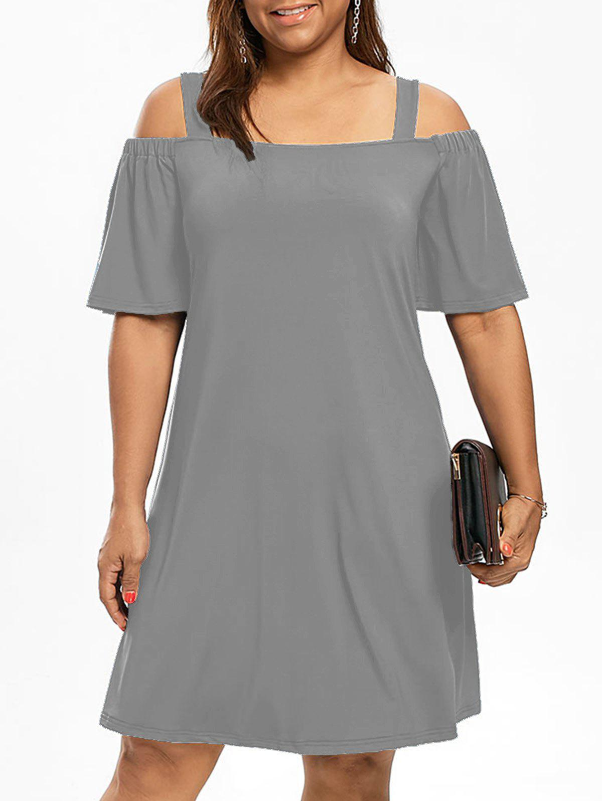 Robe Manches 1/2 Épaules Nues Grande Taille - gris 5XL