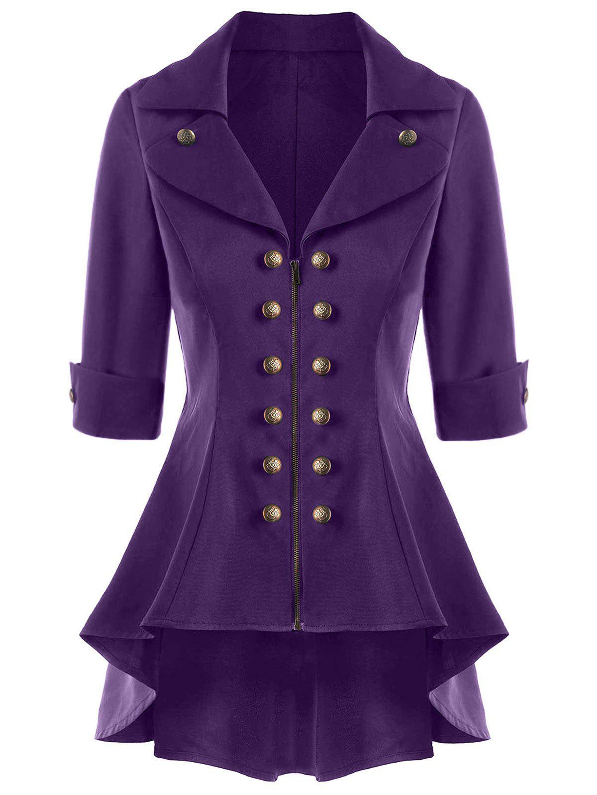 Double Breasted Short Flare Trench Coat - PURPLE M
