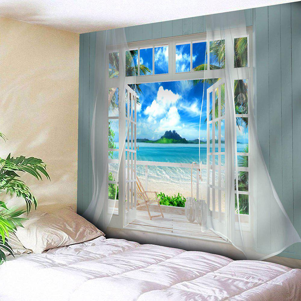 3D Faux Window Seascape Printed Wall Tapestry - BLUE W79 INCH * L71 INCH