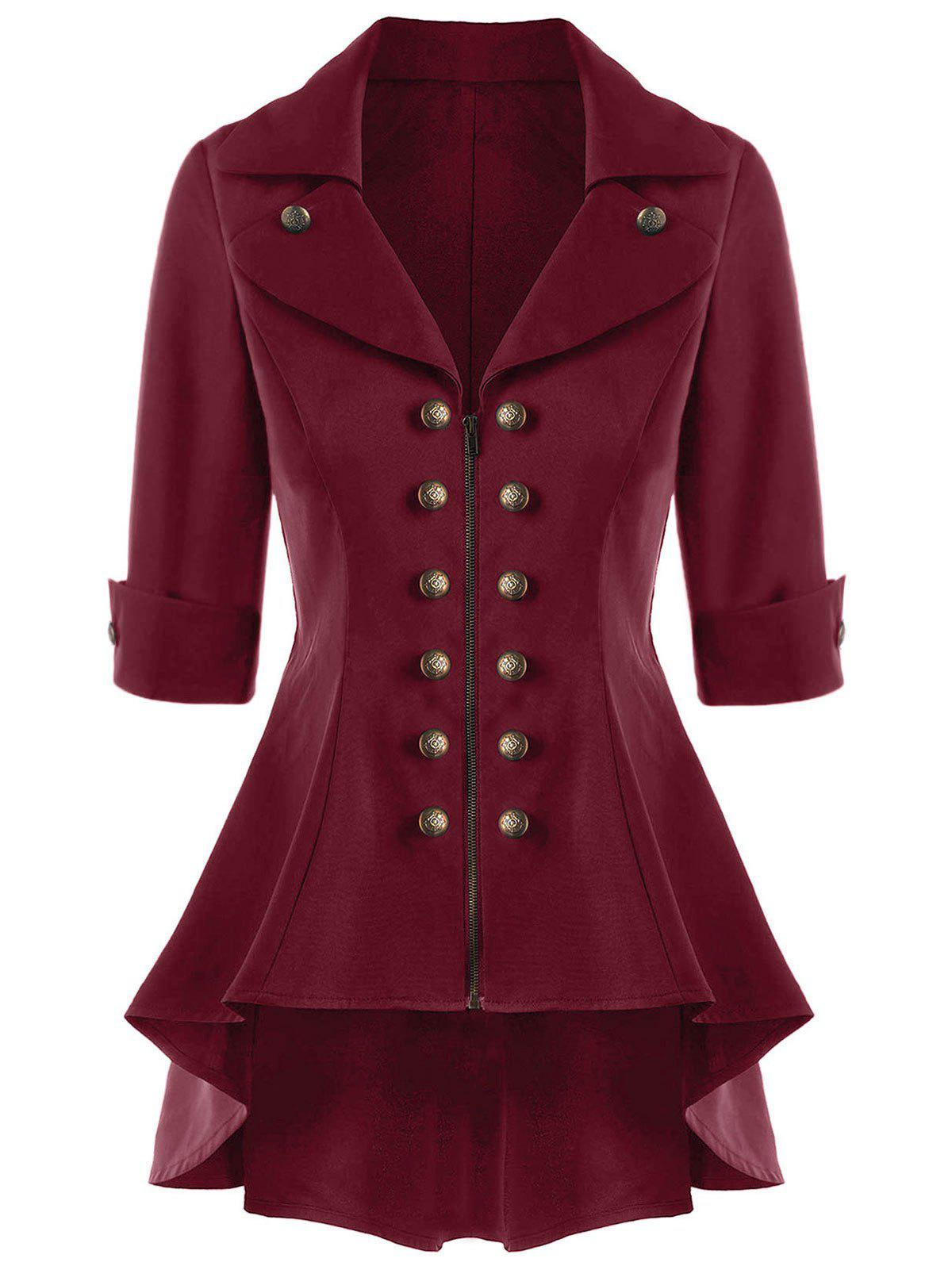 Double Breasted Short Flare Trench Coat - WINE RED M